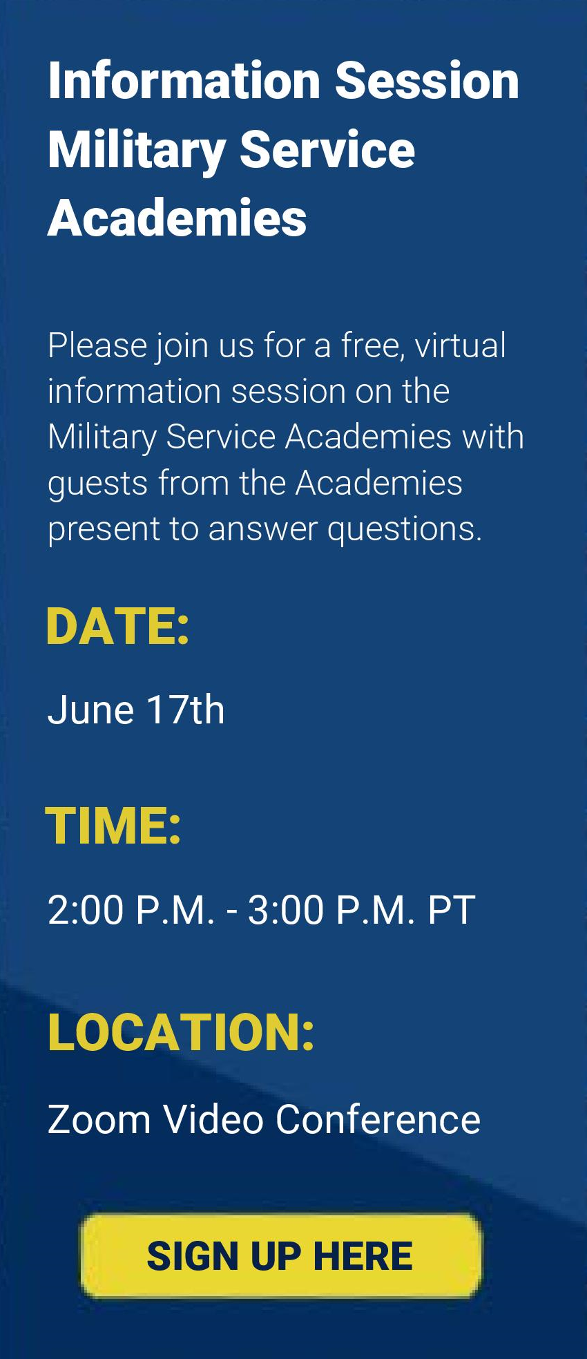 Information Session Military Academies - June 17th at 2pm